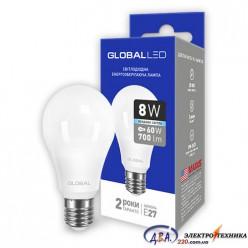 LED лампа GLOBAL A60 8W яркий свет 220V E27 AL (1-GBL-162) 4100K