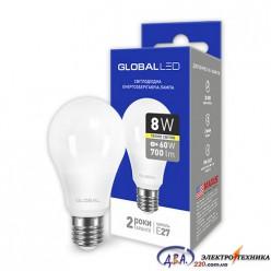 LED лампа GLOBAL A60 8W мягкий свет 220V E27 AL (1-GBL-161) 3000K