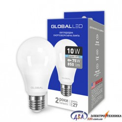 LED лампа GLOBAL A60 10W яркий свет 220V E27 AL (1-GBL-164) 4100K