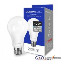 LED лампа GLOBAL A60 12W яркий свет 220V E27 AL (1-GBL-166) 4100К